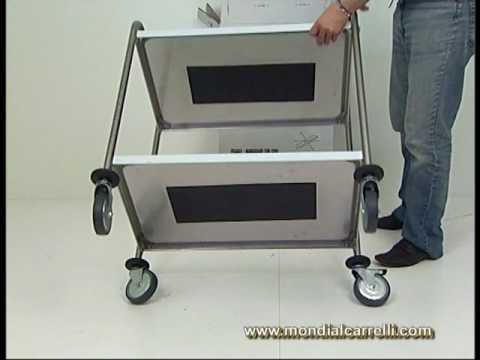 Carrello di servizio in acciaio inox su ruote full optional