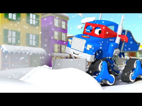 Pengresik salju ⛄ Snowplow 🚚 Carl si trek super⍟Truck Animation for Kids