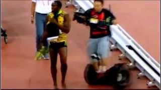 Usain Bolt vs Camera man 19.55s Gold World Championships 2015 Beijing