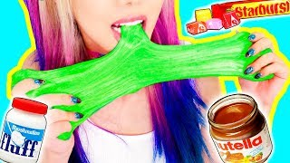 Video 4 DIY Edible Candy Slimes! *SLIME YOU CAN EAT* GIANT GUMMY WORM SLIME, STARBURST, NUTELLA MP3, 3GP, MP4, WEBM, AVI, FLV Juli 2018
