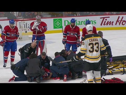 Video: Canadiens' Danault stretchered off after taking Chara slap shot to the head