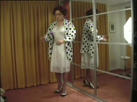 wandanylon - Mrs. Wanda Nylon dresses down to her two full slips and the to her all in one girdle.
