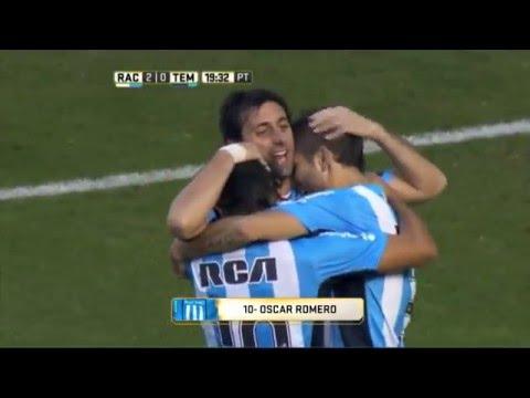 Gol de Romero. Racing 2 Temperley 0. Fecha 16. Primera División 2016