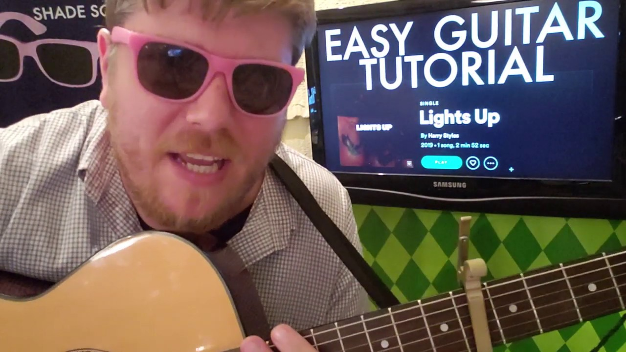 Harry Styles – Lights Up // guitar lesson beginner tutorial easy chords tabs acoustic
