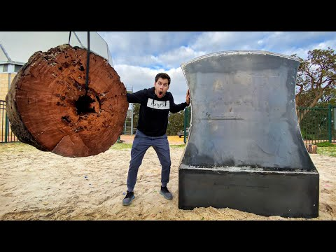 GIANT AXE Vs. GIANT STUMP Dropped from 45m!