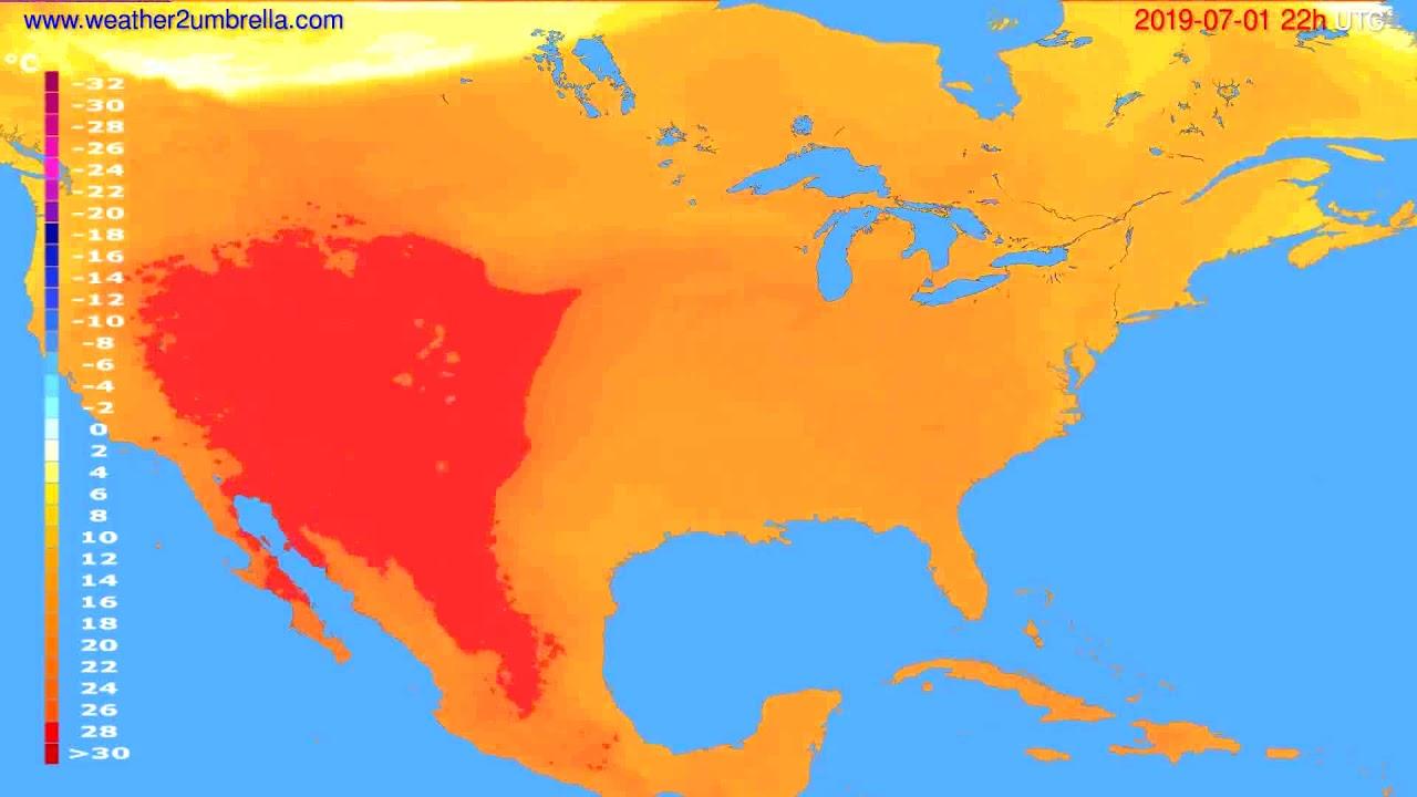 Temperature forecast USA & Canada // modelrun: 00h UTC 2019-06-29