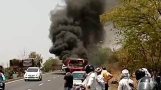 A City-Bus caught fire near Wardha Road