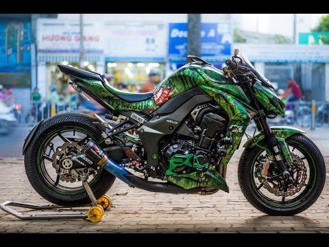 """:d  kawasaki z1000 Đập tan mọi ánh nhìn với phong cách """"rỈ sÉt"""" xanh rêu kịch ĐỘc của…. biker sài gòn!  :v"""