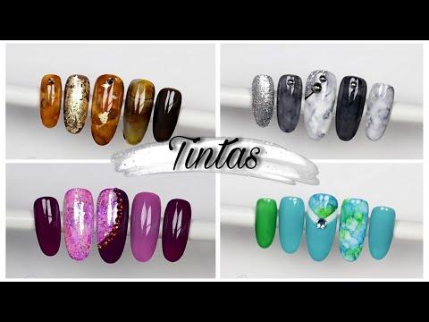 Decorados de uñas - 4 diseños probando tintas y geles económicos