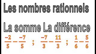 Maths 3ème - Les nombres rationnels Addition et Soustraction Exercice 22