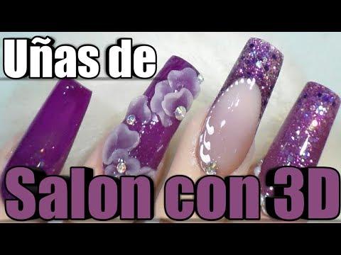 Uñas acrilicas - UÑAS MORADO CORTO CON 3D