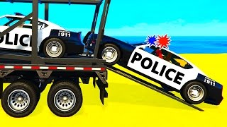 FUN POLICE CARS Transportation in Spiderman Cartoon for Kids a...