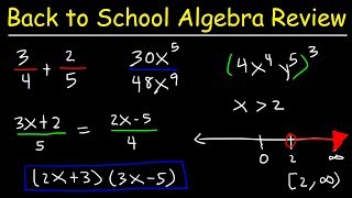 This back to school video tutorial is for students who are taking algebra 1, algebra 2, or any higher level course that builds on the basics of algebra such as trigonometry, precalculus, calculus, and so forth.  Here is a list of topics:1.  Review of Fractions2.  Adding and Subtracting Fractions3.  Multiplying and Dividing Fractions4.  Properties of Exponents and Powers5.  Simplifying Algebraic Expressions6.  Combining Like Terms7.  Multiplying and Dividing Monomials8.  Distributive Property and Foil Method9.  Foiling Binomials and Trinomials10.  Solving Basic Linear Equations11.  How to Solve Equations With Variables and Parentheses on Both Sides12.  Graphing Inequalities on a Number Line13.  Solving Linear Inequalities 14.  Solving Equations With Fractions and DecimalsPre-Algebra Video Playlist:https://www.youtube.com/watch?v=WJqw-cxvKgo&list=PL0o_zxa4K1BVoTlaXWFcFZ7fU3RvmFMMGAlgebra Online Course:https://www.udemy.com/algebracourse7245/learn/v4/overviewAccess to Premium Videos:https://www.patreon.com/MathScienceTutor