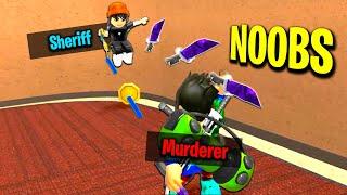 Noob Murderer Vs Noob Sheriff in Roblox Murder Mystery 2