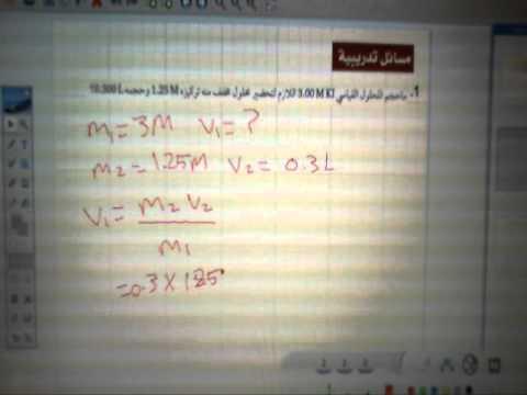 معادلة تخفيف المحاليل - الكيمياء