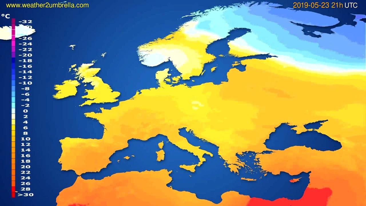 Temperature forecast Europe // modelrun: 00h UTC 2019-05-22