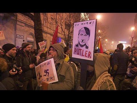 Διαδήλωση στη Βουδαπέστη κατά της επίσκεψης Πούτιν