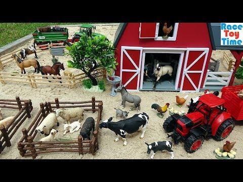 Farm Animal Toys in the sandbox - Fun Toy Animals For Kids