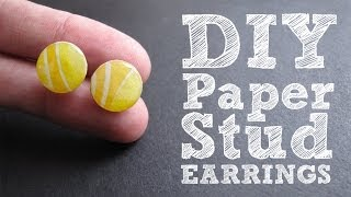 DIY Paper Stud Earrings - Cute & Colorful Upcycled Jewelry Tutorial - YouTube