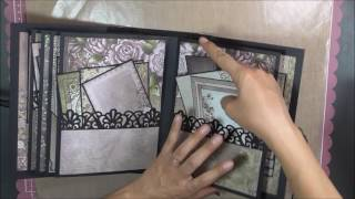 I used Shellie Geigle's Tutorial for inspiration. I used pre-made 3D flip fold albums to create two mini albums using one Raindrops on Roses 12 x 12 heartfel...