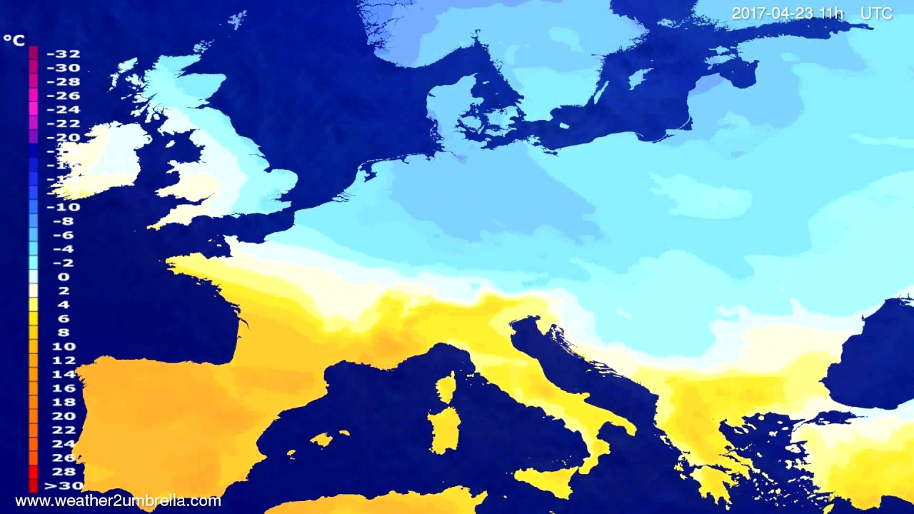 Temperature forecast Europe 2017-04-19