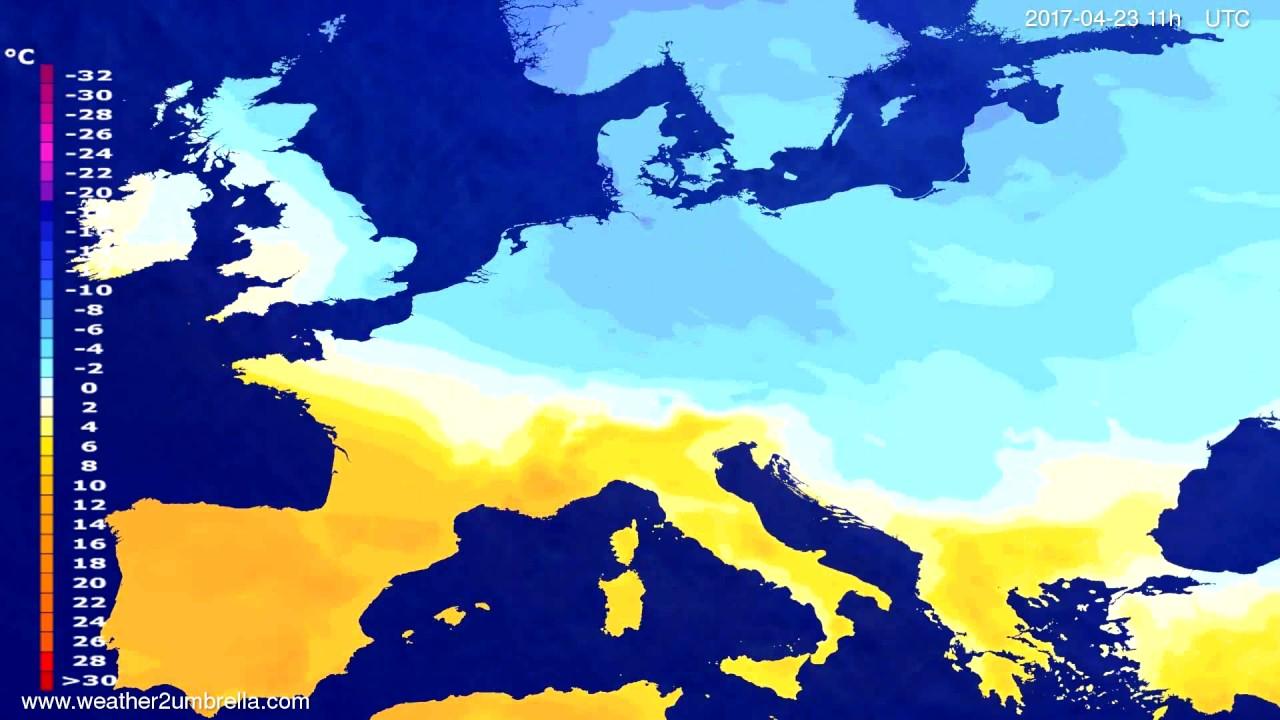 Temperature forecast Europe 2017-04-19
