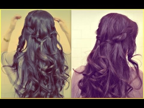 ★EASY PROM HALF-UP UPDO |HOW TO WATERFALL ROPE BRAID HAIRSTYLES FOR MEDIUM LONG HAIR TUTORIAL