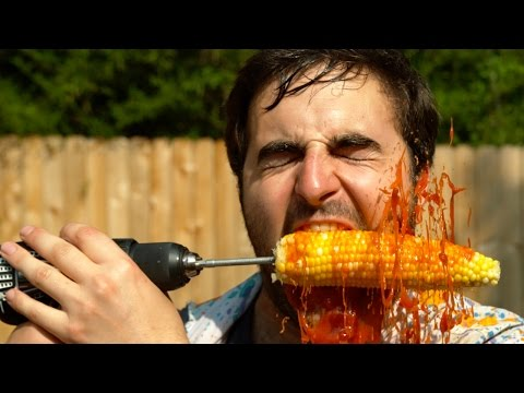 The Slow Mo Guys Eating Corn on the Cob with a Power