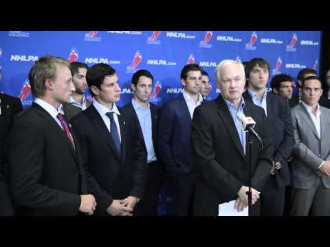 NHLPA - Don Fehr addresses the media following August 14th's CBA negotiations meeting and NHLPA alternate proposal presentation.