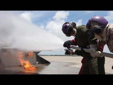 aircraft - Marines with Marine Medium Tiltrotor Squadron 265 (Reinforced), 31st Marine Expeditionary Unit, recently conducted aircraft firefighting training on a simula...