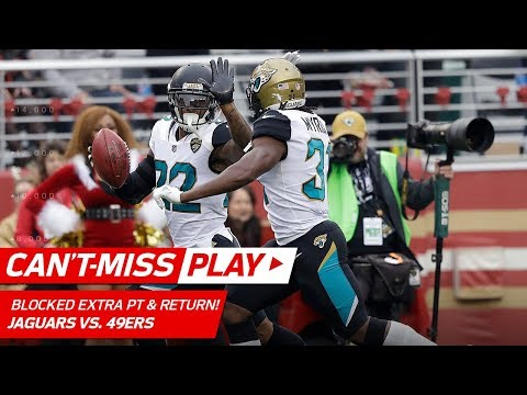 Video: Dontae Johnson's Pick 6, But Jags Block Extra Point & Return for 2 Pts | Can't-Miss Play | NFL Wk 16