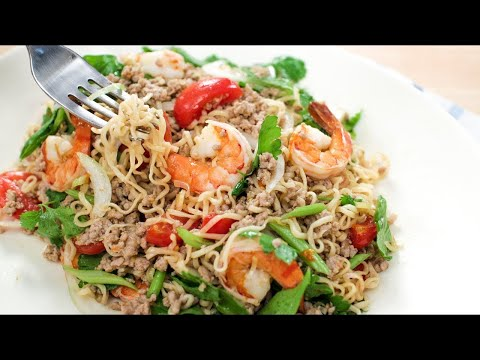 Instant Ramen Noodle Salad Recipe (Yum Mama) ยำมาม่า - Hot Thai Kitchen