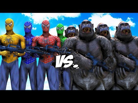 TEAM SPIDER-MAN VS GORILLA ARMY - EPIC BATTLE