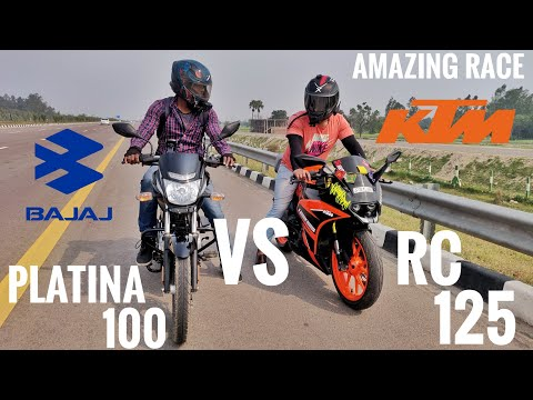 KTM RC 125 VS BAJAJ PLATINA 100  | Epic Race 🤣 | First Time In youtube | Met with Become Youtuber