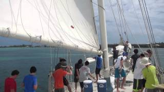 Coming to anchor under sail with Scout Troop 59!