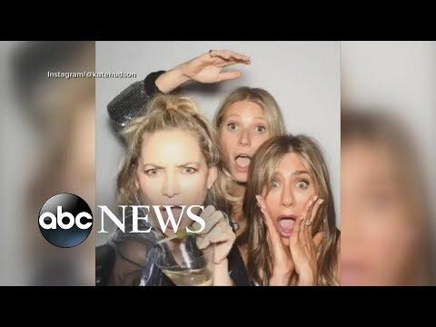 Jennifer Aniston celebrates her 50th birthday with friends and ex-husband Brad Pitt   GMA