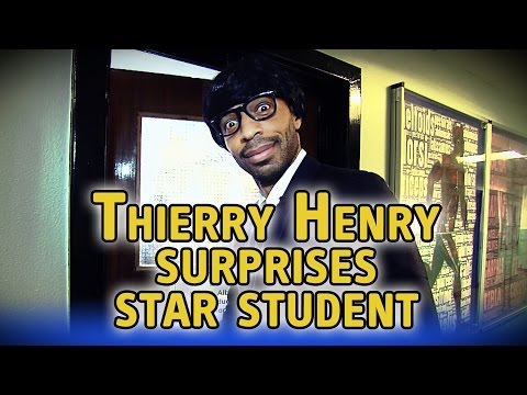 Thierry Henry disguises himself as a schoolteacher to surprise 16-year-old student with award at Welsh school