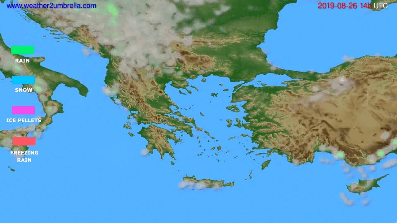 Precipitation forecast Greece // modelrun: 00h UTC 2019-08-24
