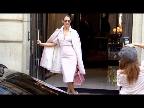 EXCLUSIVE - All Pink Celine Dion leaving her hotel in Paris