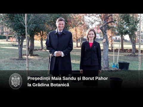 Președinții Maia Sandu și Borut Pahor au discutat cu un grup de tineri și au plantat arbori la Grădina Botanică
