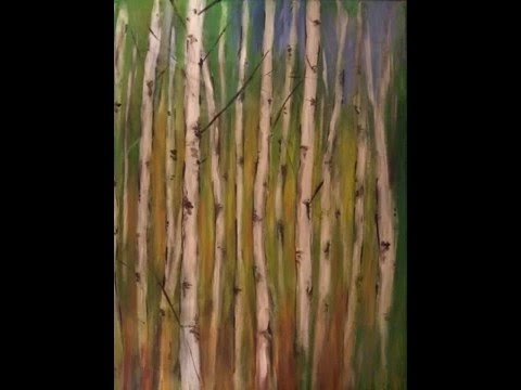 Birkenwald abstrakt malen acryl. Abstrakt acrylic painting.