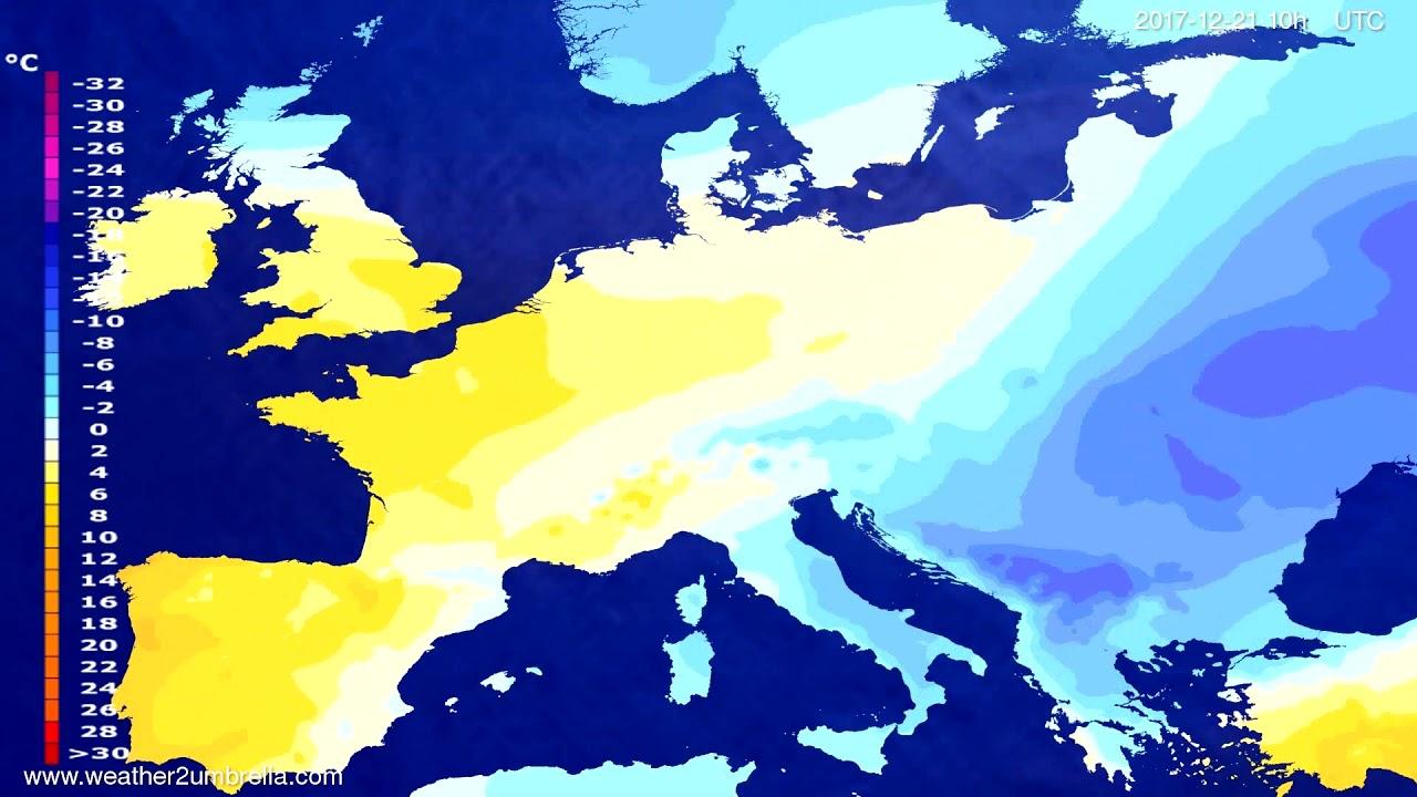 Temperature forecast Europe 2017-12-19