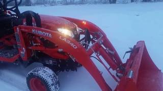 Here is a quick (and somewhat unstable) walk around of a 2017 BX 23S in a light snow storm. the Backhoe is off and a Kubota Snowblower is on.