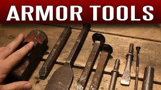 Tool links can be found here: https://armortemplates.com/tools.htmlIn this video I go over all of the tools I use to make armor. You certainly do not need all of these tools to get started, but all of them come in handy in one project or another. Whether you are new to metalworking or a seasoned pro, the Armor Templates method offers an easy, affordable way to make real armor with inexpensive, ordinary tools; many of which you may already have in your garage.I show you hammer types, ball peen, auto body, rawhide, rubber, etc. I also go over many anvil objects, such as a polished sledge hammer head I made, railroad spikes, chisels, files, a bench vise, a bench grinder, a handheld grinder, a dishing stump and a dishing form, a dapping set, a power punch and electric drill, different kinds of snips, a Dremel tool with various bits and more.