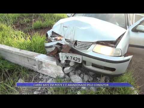 JATAÍ | Carro bate em poste e é abandonado pelo condutor