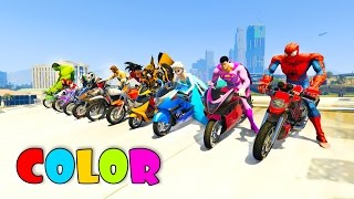 Video COLOR MotorCycles with superhero Jump in big Boat  3D animation cartoon for kids MP3, 3GP, MP4, WEBM, AVI, FLV Mei 2017