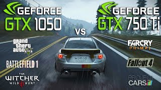 NVIDIA GTX 1050 vs GTX 750 Ti Test in 6 Games (i3 7100)Games:Battlefield 1 Grand Theft Auto V - 01:25Fallout 4 - 03:22The Witcher 3 - 05:17Project Cars - 07:17Far Cry Primal - 09:10System: Windows 10Intel i3 7100 3.9GhzPalit GTX 1050 2Gb 1354/7000MhzMSI GTX 750 Ti 2Gb 1059/5400Mhz16Gb RAM