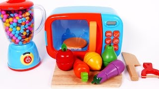 Cooking Fruit and Vegetables in Microwave Kitchen Appliance Learn Colors with Candy