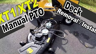 3. Cub Cadet XT1 and XT2 deck removal - with manual PTO