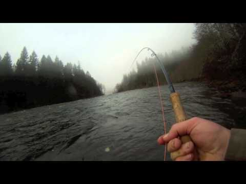 Fly Fishing for Winter Steelhead in Oregon on the Spey Rod POV Jan 2012